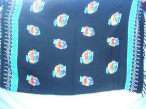 black sarong pareo sea lifes colorful fishes