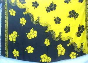black and yellow yingyang color floral hibiscus design sarong