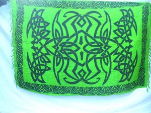 green spider web celtic knotwork pattern scarf and sarong