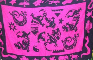 pink and black tribal gecko design sarong