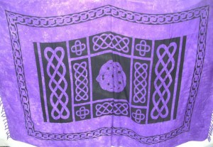 wiccan pagan supply interlace knotwork purple sarong and altar cover