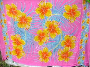 hibiscus Hawaii State Flower, pink sarong with yellow flower blue palm leaf