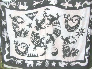 black and white native gecko sun moon star yingyang patterns