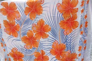 painted hibiscus sarong brown flower on white background