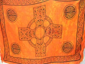 orange Celtic cross knotwork sarong cover-up. Celtic cross also named as The Irish Cross, The Irish High Cross