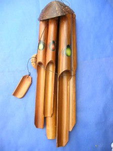 medium size spider bug painting bamboo wind chime made in Bali Indonesia 17 to 18 inches long from top coconut to end of the longest bamboo pipe