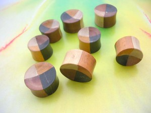 Double Flared 4 Tones Wooden Tunnel Earlets, Natural wood plugs for large stretched piercings