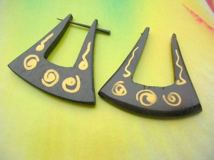 painted tribal wood jewelry earring with stick closure