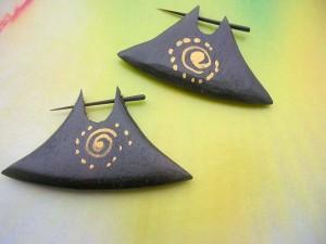 Earrings Wood Axe Hoop Piercings Jewelry Tribal Paintings