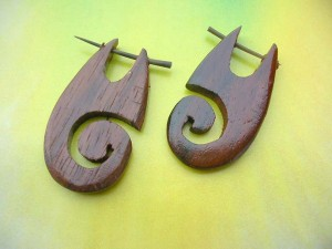 Hand Carved Sono Wood Spiral Pin Earrings