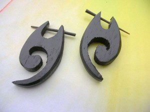 natural organic wood tribal pick earrings