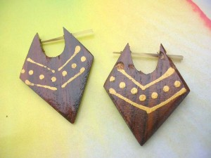 Tribal Wood Earrings Arrowhead With Painting