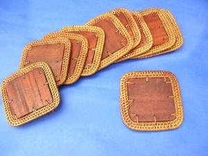 square rattan edge wooden cupcoasters set 10 pieces per set