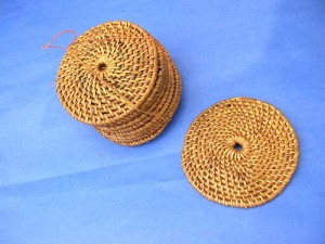 round rattan cupcoasters set 10 pieces per set