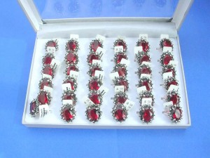 large red cz stone vintage rings