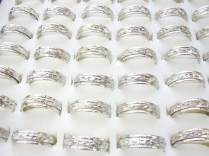 silver plated thin spinner spinning rings