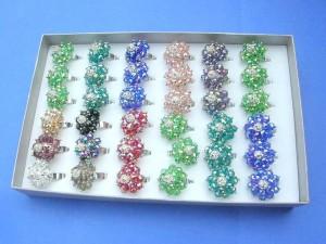 rhinestone floral rings