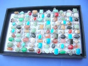 assorted genuine gemstone rings
