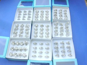 designer inspired cz faux pearl pair rings, each unit contain two maching rings wholesale stackable rings