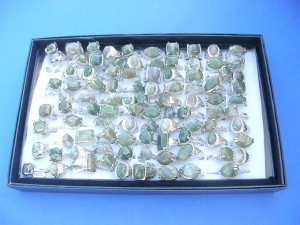 genuine green grey gemstone rings