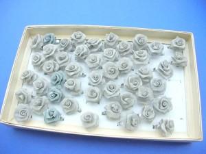 handmade light grey rose rings