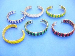 seed beads on wire bangle cuffs