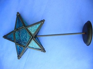standing star blue stained glass candle holder, made in China