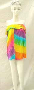 Tie dye Bali rayon strapless dress. Made in Indonesia