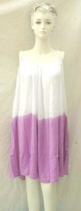 White and solid color two tone Bali rayon sleeveless dress with adjustable straps. Made in Indonesia