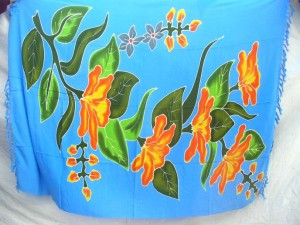 handpainted thick rayon large florals mixed design sarong