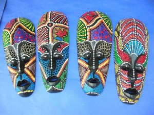 handmade thousand dots masks from Bali Indonesia