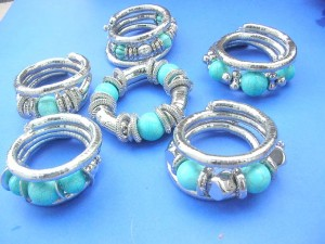 genuine turquoise beads, silver beads wrap around or stretchy bracelets