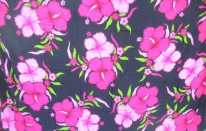 black sarong with light and dark pink hibiscus flowers