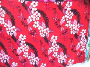 pink wavy rows Hibiscus flower sarongs Hawaiian print Bali Indonesia pareo