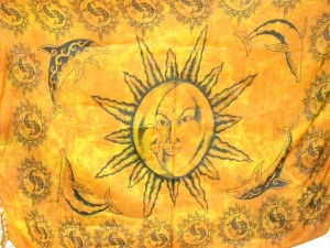 yellow sun moon face and dolphin swimming cover-up