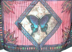 pink red butterfly in diamond sarong