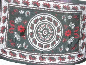 black and red elephant sarong