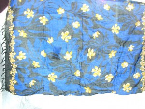 flowers blue black sarong