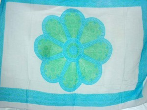 large blue daisy white sarong