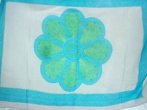 large blue daisy white sarong