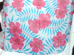 batik sarong made in Bali pink hibiscus blue palm leaves