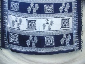 Asmat tribal art.sarong dark blue and white