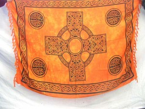 orange Celtic cross (The Irish Cross, The Irish High Cross) rayon sarong