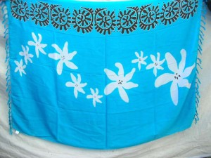 blue sarong with white flower