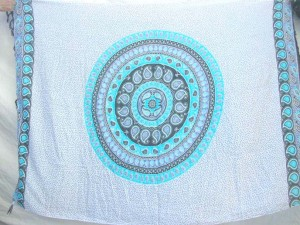 blue and white tranditional design sarong