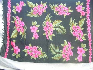 black sarong with pink flower