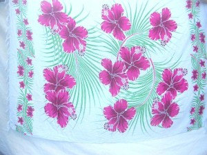 Hawaiian dress aloha pareos sarong pink hibiscus garden flower white sarong