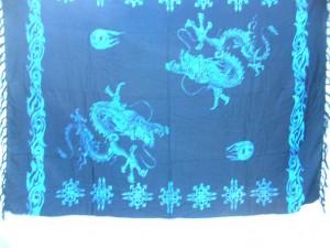 blue black sarong chinese dragon play fire ball