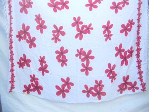tropical Batik white beach cover-up with red plumeria flowers