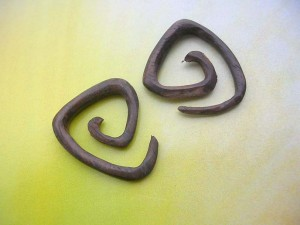 Triangle Spiral Organic Plugs Wood Piercing Earring